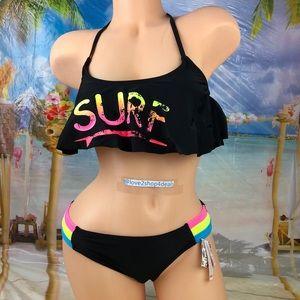 🆕Ⓜ️ Surf cage back neon bikini swim set